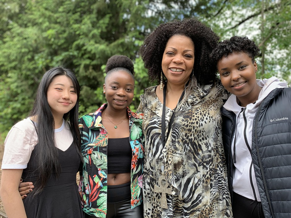 Rose Vue, Lisa Amani, S. Renee Mitchell and Faiza Jama of the IAm M.O.R.E. program, which began at Roosevelt High School to help student tell their stories and overcome trauma.