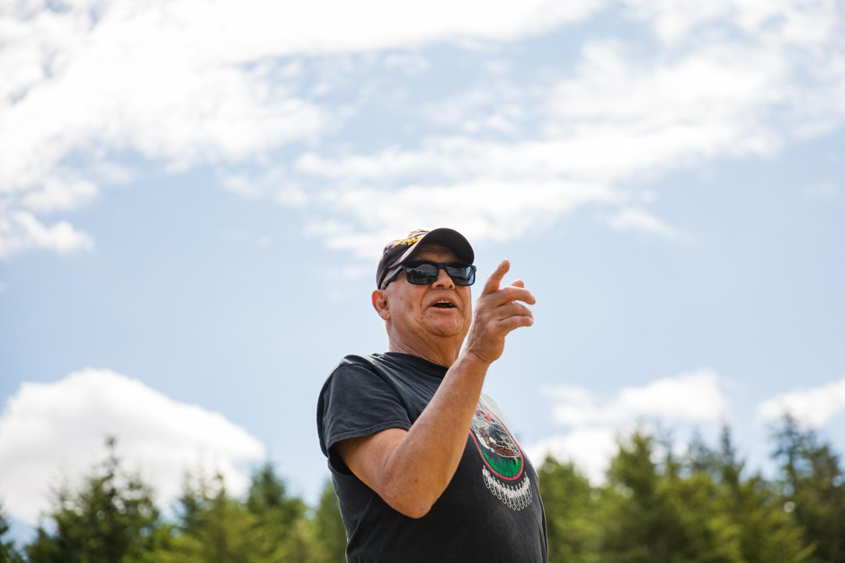 John Spence offers instructions during the connection to horses session at Wellness Warrior Camp in Grand Ronde, Ore., on Wednesday, June 26, 2019.