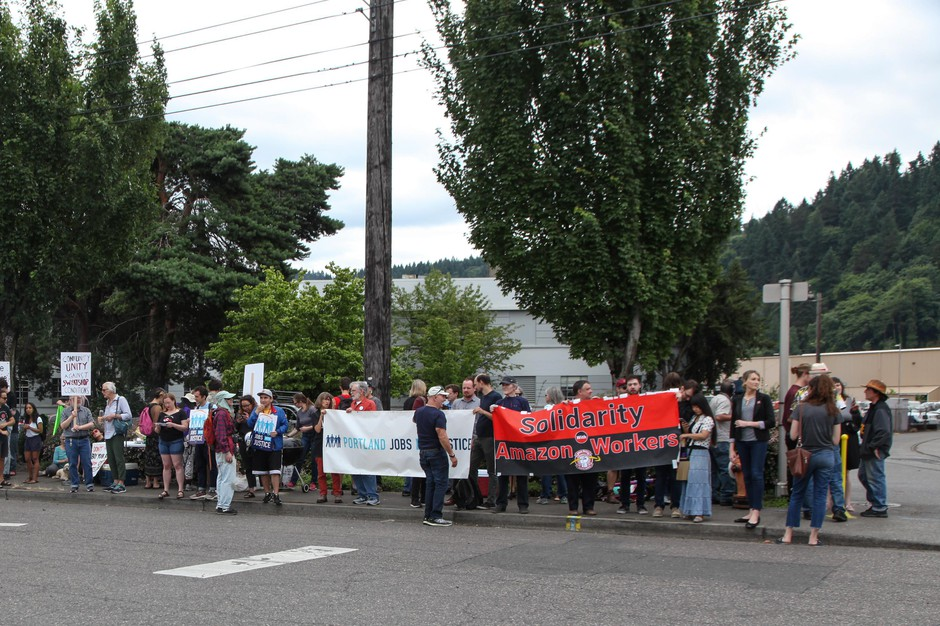 Dozens of people demonstrated during Prime Week outside the Amazon warehouse on NW St. Helens Road in Portland, July 17 2019.