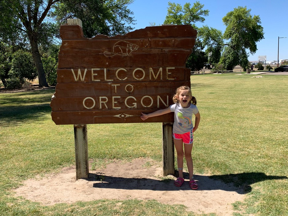 South Dakota first grader Emmy Conner was really excited to reach Oregon on a family road trip inspired by the Oregon Trail video game.