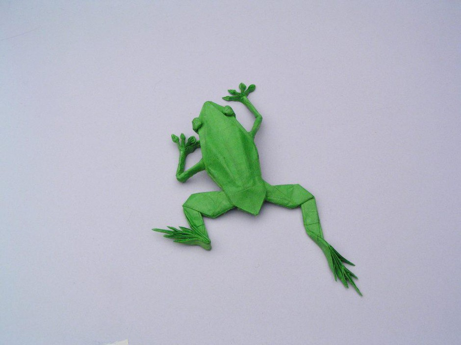 """Robert J. Langis an origami artist and former NASA physicist. He created this work, """"TREE FROG, OPUS 280"""" from one uncut square of Korean hanji."""