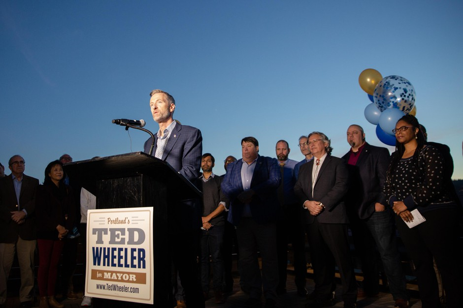 Portland Mayor Ted Wheeler announces his reelection campaign Monday, Oct. 15, 2019, in Portland, Ore. Few mayors in recent history have sought a second term.