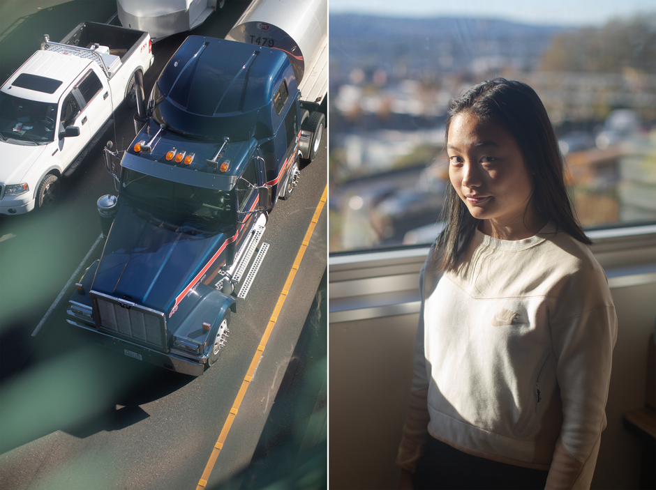 Left: Trucks travel down Interstate 5 below Harriet Tubman Middle School in Portland. Right: Malina Yuen is an eighth grader at Tubman, which sits adjacent to the freeway. Yuen has advocated against expansion of I-5.
