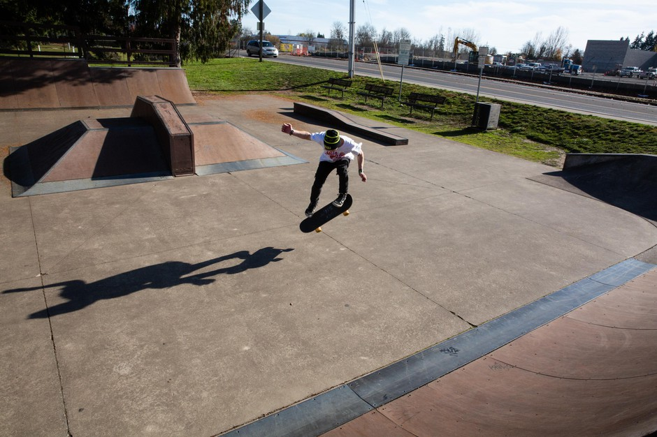 Caleb La Chance skates at a park in Monmouth, Ore., Monday, Nov. 11, 2019. La Chance was one of many Oregon foster youth sent to Red Rock Canyon School in Utah, where he was assaulted by staff.
