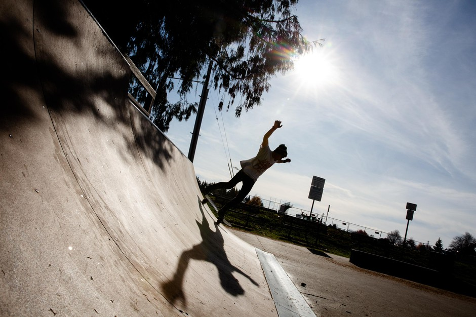 Caleb skateboards at a small, local skatepark near his adult foster home on Monday, Nov. 11, 2019, in Oregon. He is studying for his GED and lives close to his brother's apartment.