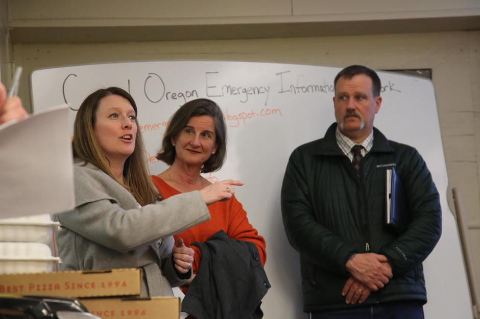 State Rep. Cheri Helt, R-Bend, praises emergency planners in Bend, Ore., with Bend Mayor Sally Russell and Deschutes County Commissioner Tony DeBone at a meeting on Monday, March 2, 2020.