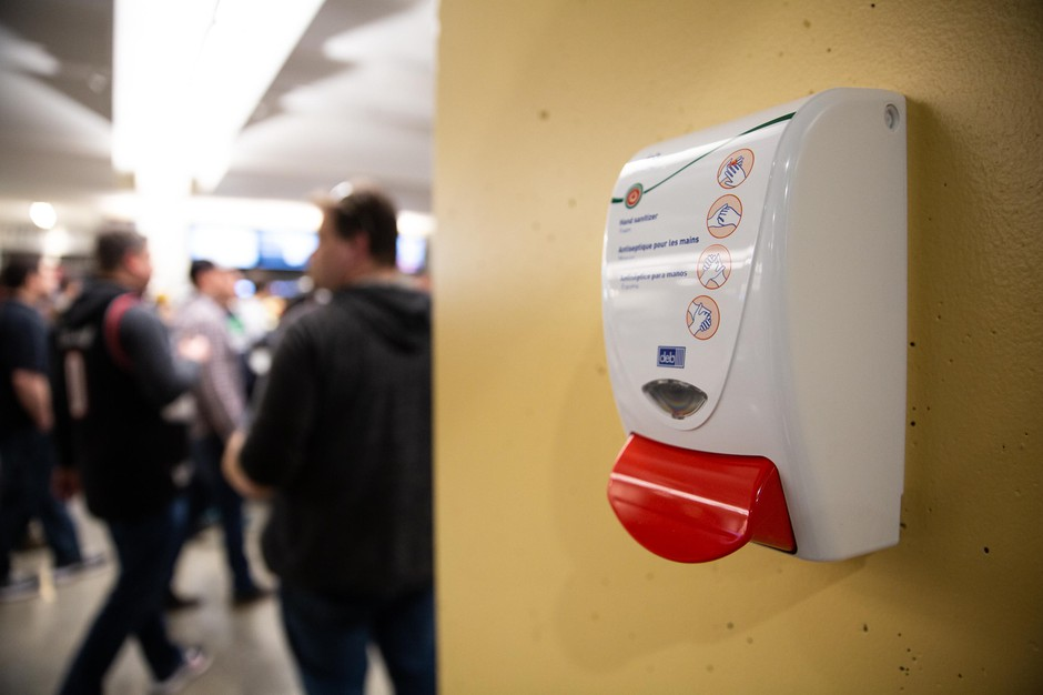 A hand sanitizing station is pictured at the Moda Center in Portland, Ore., Saturday, March 9, 2020.