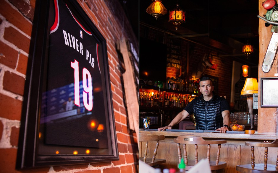 Left: News of the NBA shutdown is reflected in a Trail Blazers jersey at River Pig Saloon. Right: Ramsay Hattar says River Pig will lose business due to sports season suspensions.