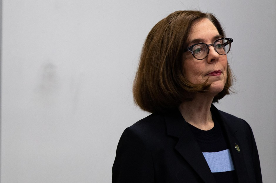 Oregon Gov. Kate Brown announced the closure of all bars and restaurants in the state and a ban on gatherings of 25 or more people in a press conference with Oregon health leaders in Portland, Oregon, on March 16, 2020.