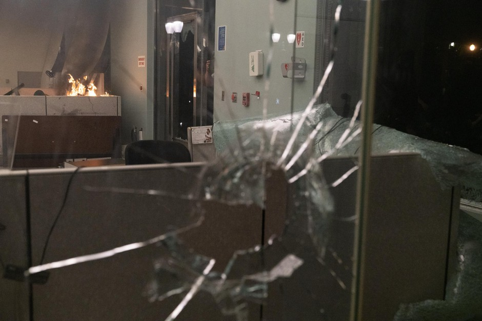 Protesters broke into and set fire to the Multnomah County Justice Center in downtown Portland, Ore., prompting police to use tear gas and loudspeakers to disperse them on May 29, 2020. The protests were against racist violence and police brutality.