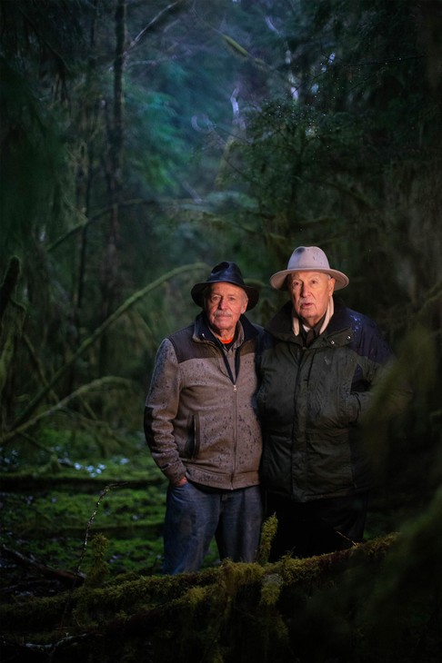 Forest scientists Norm Johnson, left, and Jerry Franklin stand in the Valley of the Giants, an ancient forest in Oregon's Coast Range.