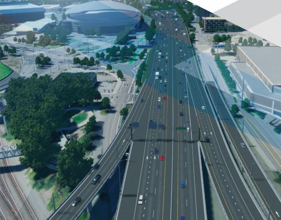The Rose Quarter project overview shows an ODOT rendering of what its freeway widening project would look like near the Moda Center and the Oregon Convention Center.