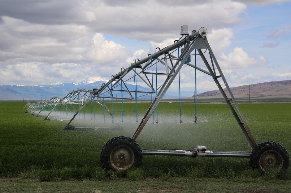 An irrigation pivot in Harney County, May 27, 2019. Farms here raise alfalfa