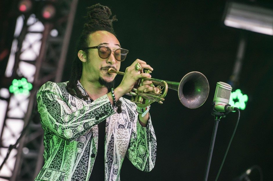 Theo Croker and DVRK Funk perform at the Elb Jazz Festival on the shipyard 'Blohm und Voss'.