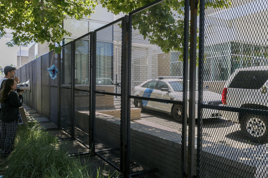 Immigration and Customs Enforcement (ICE) erected a steel fence around its offices in Portland on July 3, 2018.