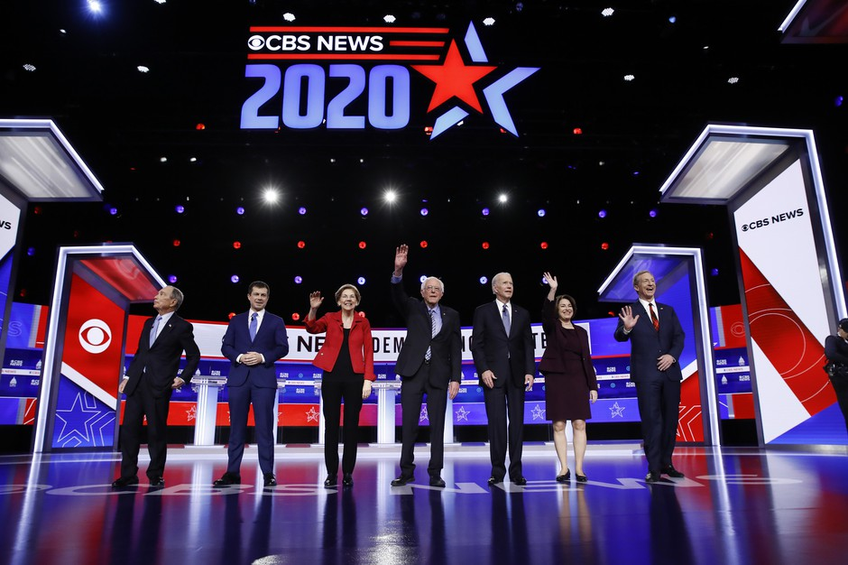 From left, Democratic presidential candidates former New York City Mayor Mike Bloomberg, former South Bend Mayor Pete Buttigieg, Sen. Elizabeth Warren, D-Mass., Sen. Bernie Sanders, I-Vt., former Vice President Joe Biden, Sen. Amy Klobuchar, D-Minn., and businessman Tom Steyer participate in a Democratic presidential primary debate, Tuesday, Feb. 25, 2020, in Charleston, S.C.
