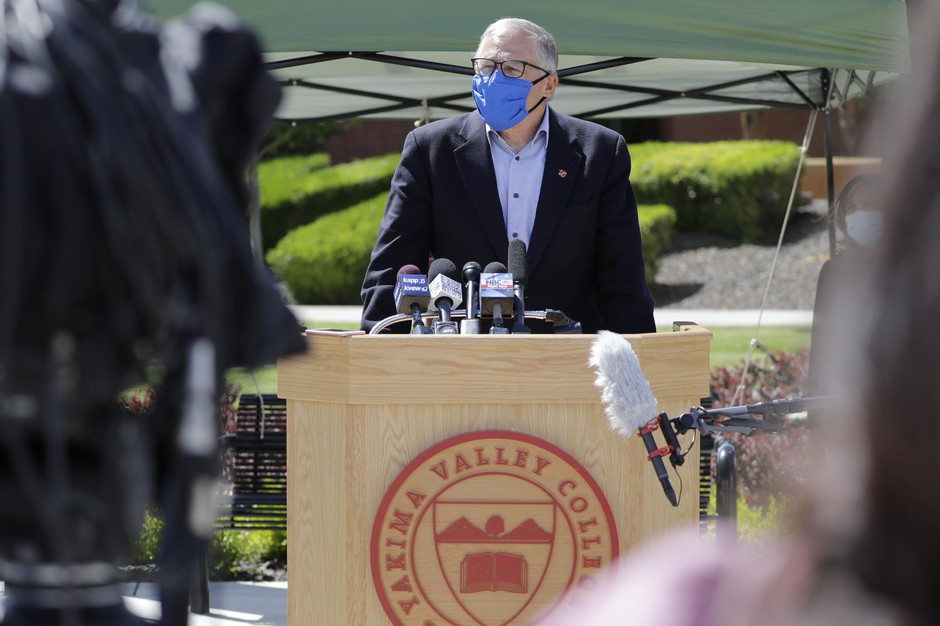 Washington state Gov. Jay Inslee talks about the high rate of coronavirus cases in the area during a news conference at Yakima Valley College Tuesday, June 16, 2020, in Yakima, Wash. Inslee met with leaders in local government, health care and business to discuss the impact of the COVID-19 pandemic in the area, which has one of the highest rates of infection in the state.
