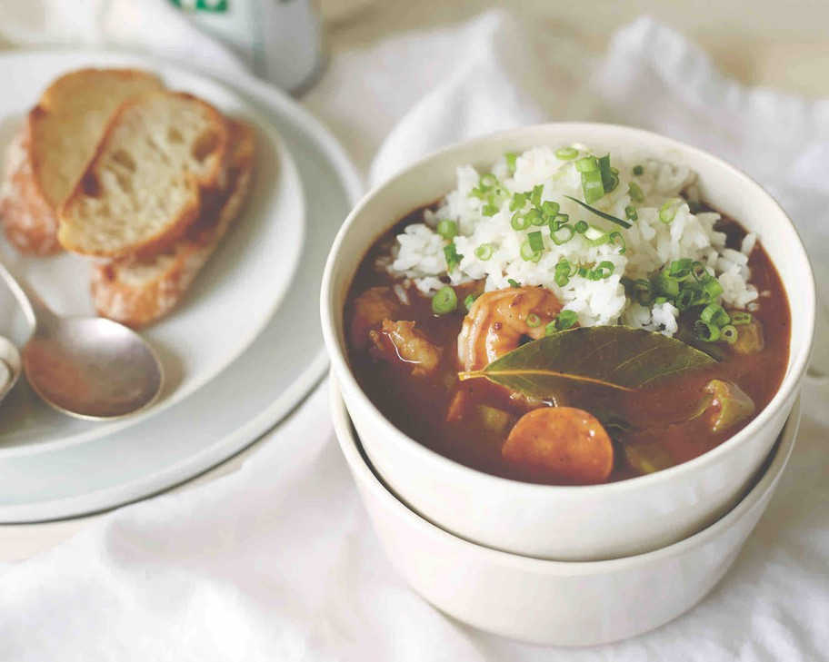 """Asian and Cajun/Creole ingredients —lemongrass, Creole seasoning, fish sauce —brighten and enliven Chicken, Shrimp and Andouille Sausage Gumbo fromTapalayachef/owner Anh Luu. The recipe is featured in the cookbook """"PortlandCooks."""""""