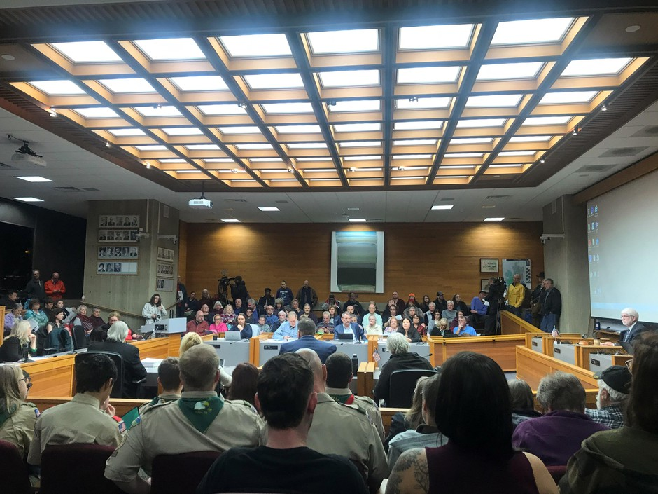 Community members pack the room at a Salem City Council meeting Nov. 26, 2019.