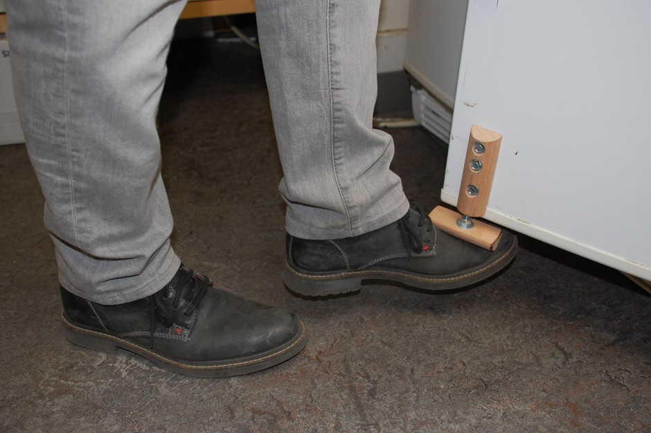 Coronavirus adaptation: Indow pulled the handles off the company fridge and installed this foot pedal instead.