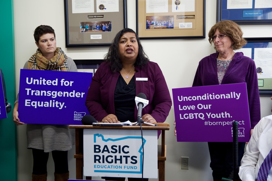 Nancy Haque, executive director of Basic Rights Oregon, speaks at a press conference onthe Trump administration proposal to narrowly definesex Oct. 23, 2018.