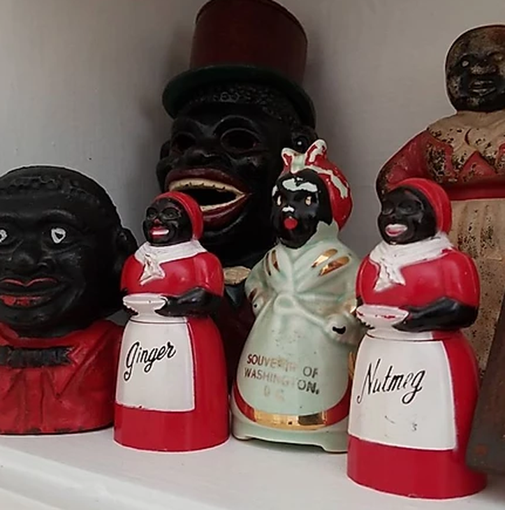 These figurines and Aunt Jemima spice jars are part of the Museum's permanent collection.