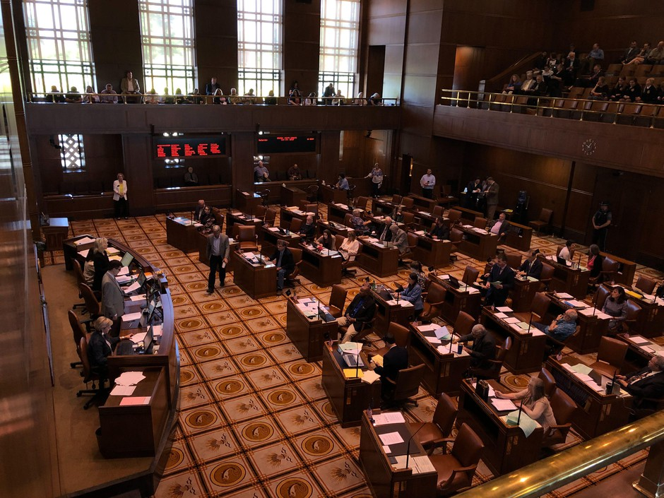 The Oregon Senate convenes at the Capitol in Salem, Ore., Saturday, June 29, 2019. Not all Republican senators returned to work after a nine-day walkout, but enough came to achieve quorum.