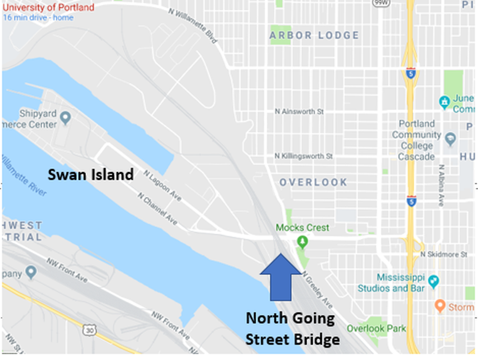 North Going Street Bridge provides the only public access to Swan Island, a key industrial area in North Portland.