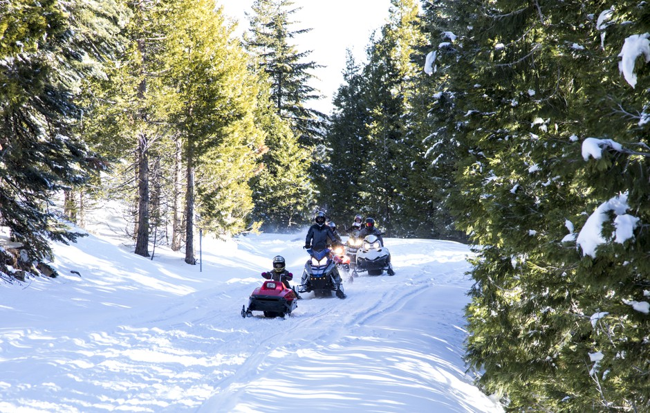 Snow mobiles in the Cascade-Siskiyou National Monument.