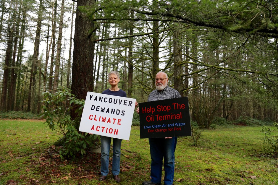 East Vancouver residents Alona and Don Steinke have been protesting the Vancouver Energy oil terminal since 2013.