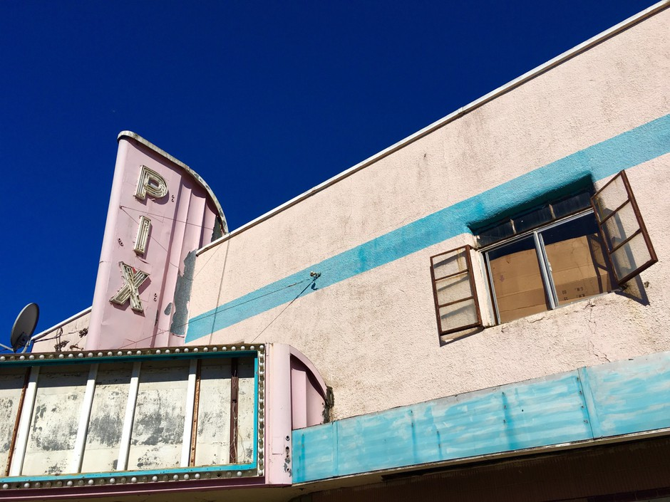 The 1948 Pix Theater sits empty in downtown Woodburn, Oregon. The city of about 30,000 is one of the state's most diverse.