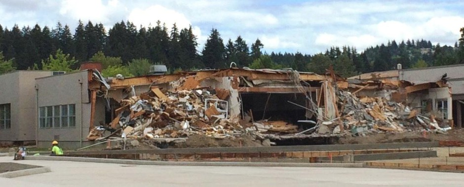 The old Roosevelt Middle School this past July, in the stages of demolition.