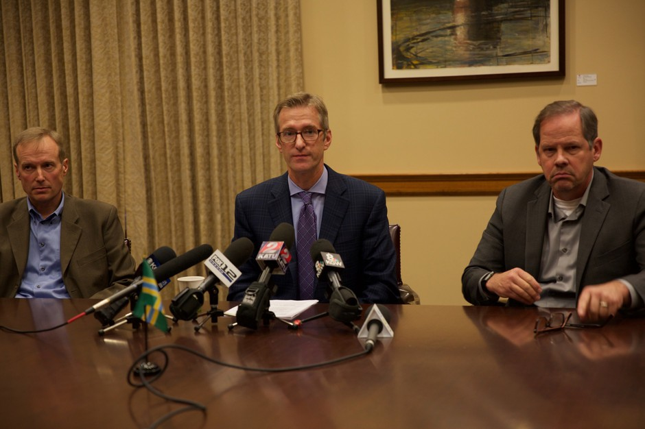 Portland Mayor Ted Wheeler holds a press conference on homelessness in Portland.