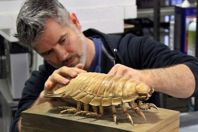 Christopher Marley works on a frozen isopod at his Oregon studio.