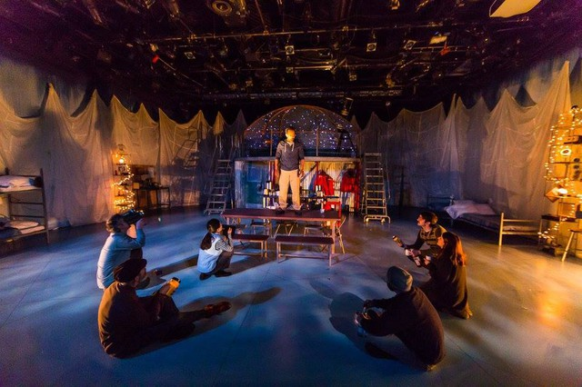"""A scene from the polar epic, """"Magellanica"""", premiered at Artists Repertory Theatre in 2018, featuring John San Nicolas, Michael Mendelson, Eric Pargac, Sara Hennessy, Joshua J. Weinstein, Barbie Wu, and Vin Shambry."""